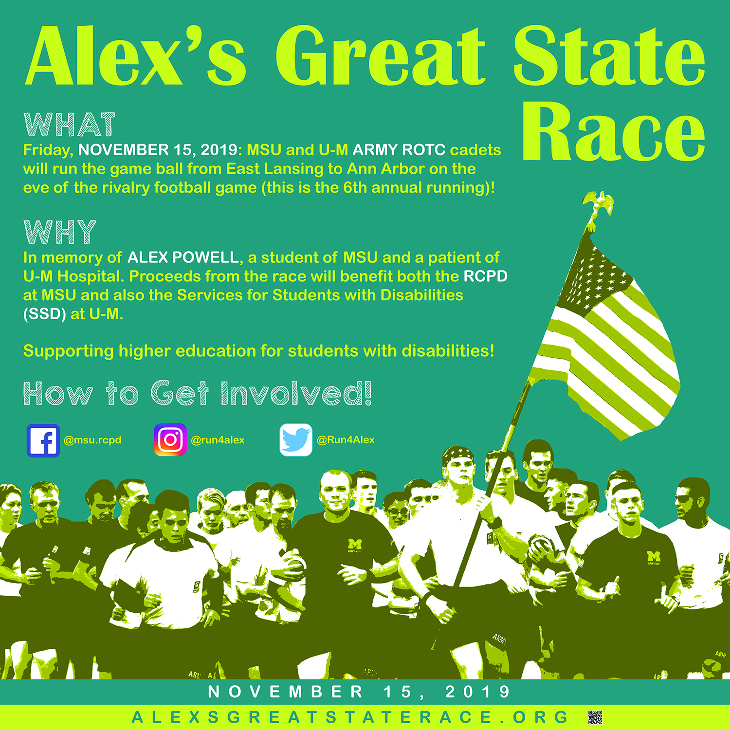 Promotional image for Alex's Great State Race featuring some event info which is also in the blog post