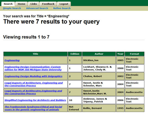 "Screenshot of seven results appear for the query, ""engineering."""