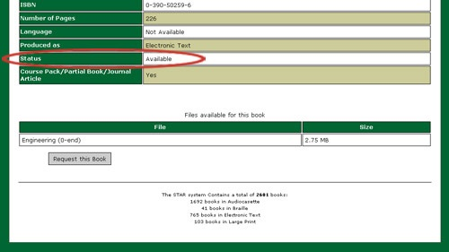 The status of the book is circled in red. The book appears to be available.