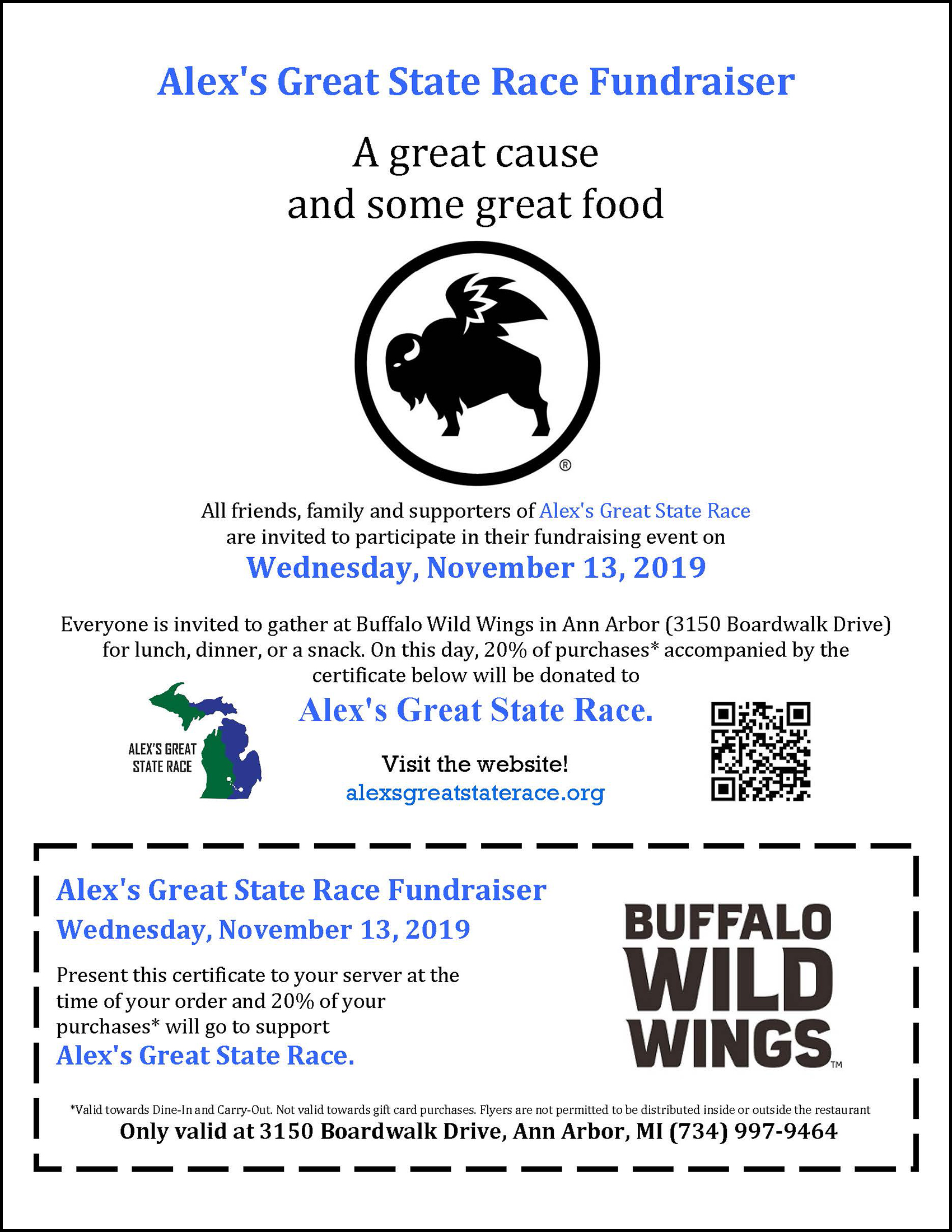 Buffalo Wild Wings fundraiser in Ann Arbor on November 13, 2019