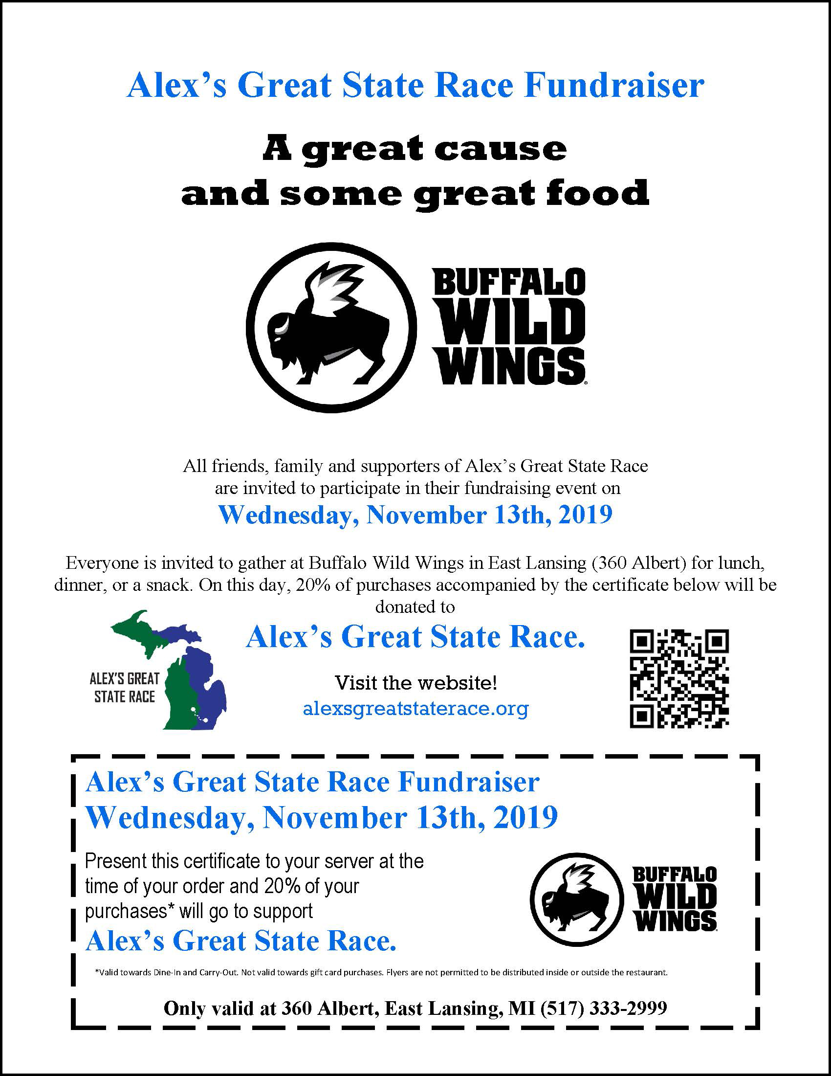 Buffalo Wild Wings fundraiser in East Lansing on November 13, 2019
