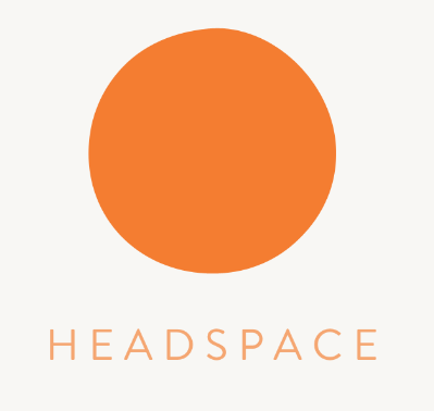 Headspace logo, a solid orange circle.