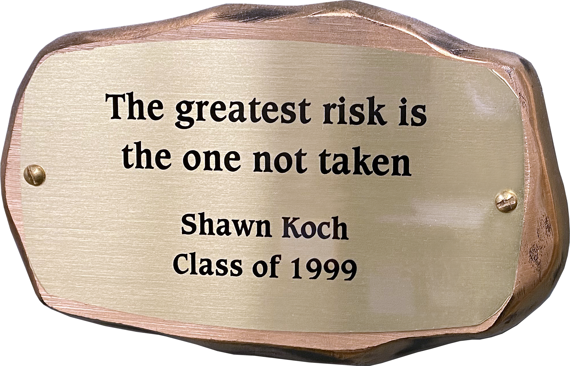 Inscribed bronze plaque in the shape of a rock with text on it reading: The greatest risk is the one not taken. Shawn Koch. Class of 1999