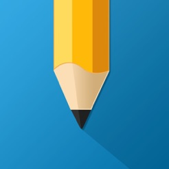 My homework app logo, blue square with yellow sharpened pencil.