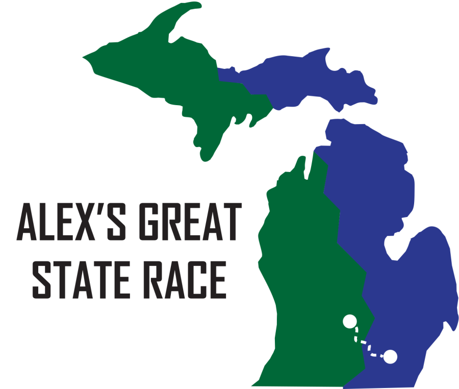The Alex's Great State Race logo: a map of Michigan colored blue and green