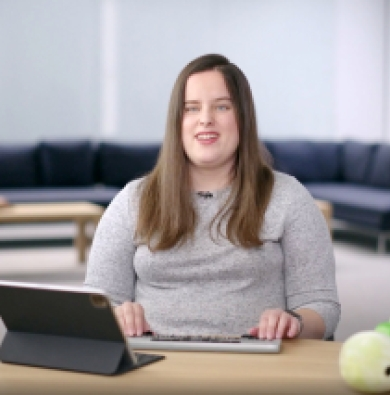 Screenshot from Apple's WWDC20 video, showing Jordyn Castor with a laptop as she demonstrates the programming.