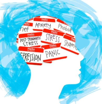 "Illustration showing drawing of someone's head with many ""hello my name is..."" stickers inside, with words like panic, stress, depression, and anxiety written on them."