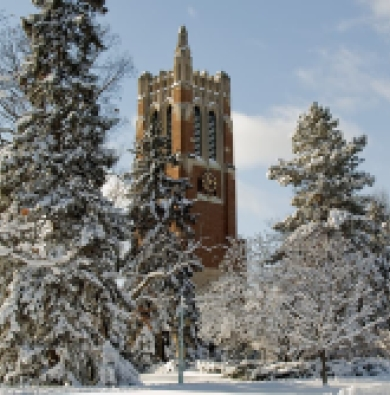 Beaumont Tower surrounded by snow-covered trees